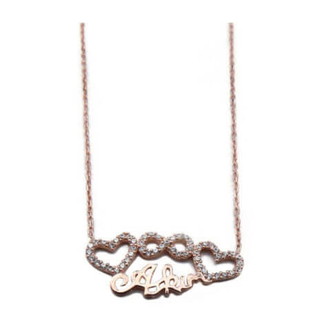 Ροζ Χρυσό Γυναικείο Μενταγιόν Λαιμού Αλυσίδα Καρδιά Άπειρο Ασημένιο 925 Ζιργκόν Πέτρες Λευκές