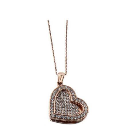 Ροζ Χρυσό Γυναικείο Μενταγιόν Λαιμού Αλυσίδα Καρδιά Ασημένιο 925 Ζιργκόν Πέτρες Λευκές