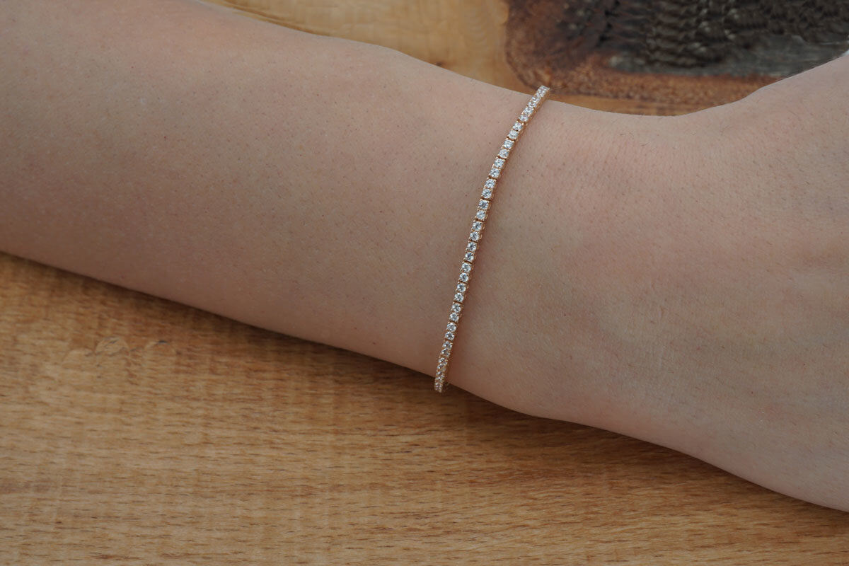 Ροζ Χρυσό Γυναικείο Βραχιόλι Ριβιέρα 14Κ Ζιργκόν Πέτρες Γάμος Αρραβώνας