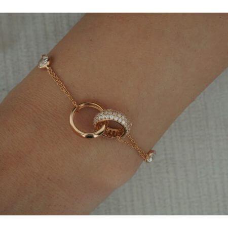 Ροζ Χρυσό Γυναικείο Βραχιόλι Χεριού 925 Ζιργκόν Βραχιόλι Χεριού