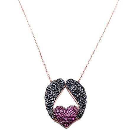Ροζ Επίχρυσο Κρεμαστό Μενταγιόν Καρδιά Φτερά Αγγέλου Αλυσίδα Λαιμού Μαύρες Πέτρες Ζιργκόν Ασημένιο 925 Γυναικείο