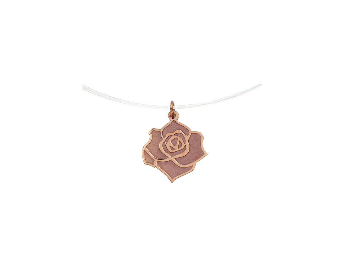Ροζ Χρυσό Μενταγιόν Τριαντάφυλλο 14Κ Ντίζα