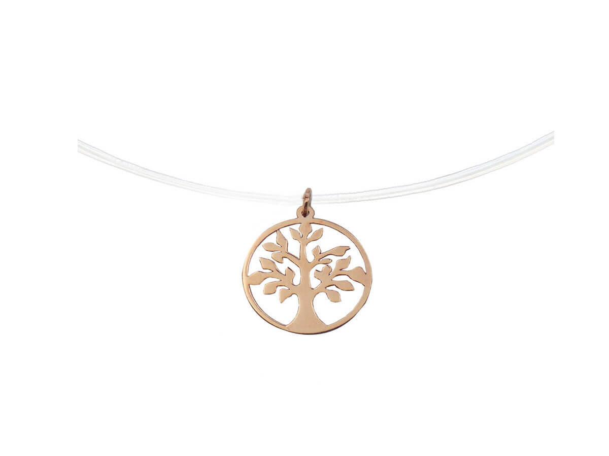 Ροζ Χρυσό Μενταγιόν 14Κ Ντίζα Δέντρο Ζωής Λαιμός
