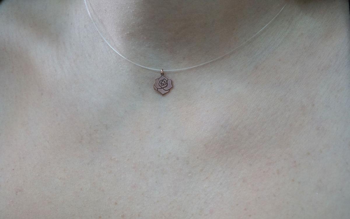 Μενταγιόν Ροζ Χρυσό Ντίζα 14Κ Τριαντάφυλλο Γυναικείο