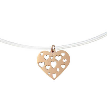 Ροζ Χρυσό Μενταγιόν Καρδιά 14Κ Ντίζα Γυναικείο