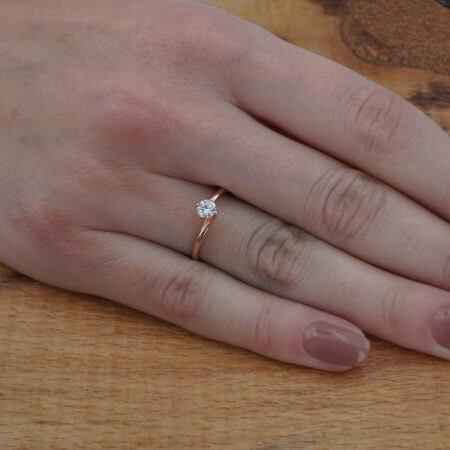 Ροζ Χρυσό Μονόπετρο 14κ Δαχτυλίδι Γυναικείο