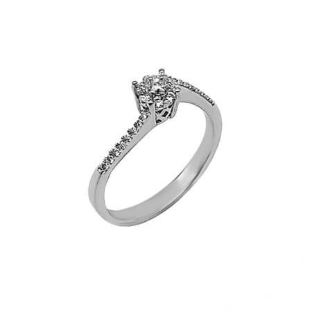 Ροζέτα 14Κ Λευκόχρυσο Δαχτυλίδι Γυναικείο Ζιργκόν Πέτρες Λευκές Επέτειος