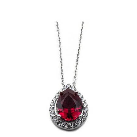 Ροζέτα Κολιέ με Κόκκινη Πέτρα Ζιργκόν Δάκρυ Drop Ασημένιο 925