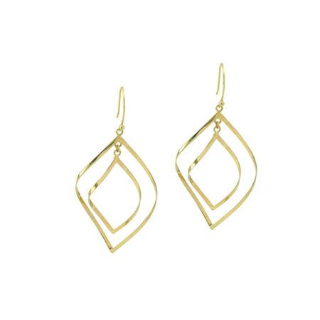 Σκουλαρίκια 14 Καράτια, Χρυσοί Κυματιστοί Διπλοί Ρόμβοι Γυναικεία