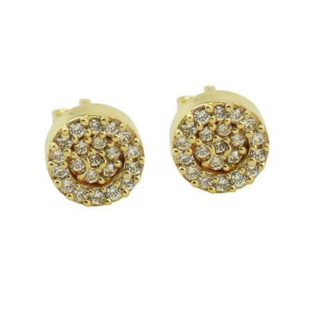 Σκουλαρίκια 9Κ Ροζέτες Λευκές Ζιργκόν Πέτρες Γυναικεία Χρυσά