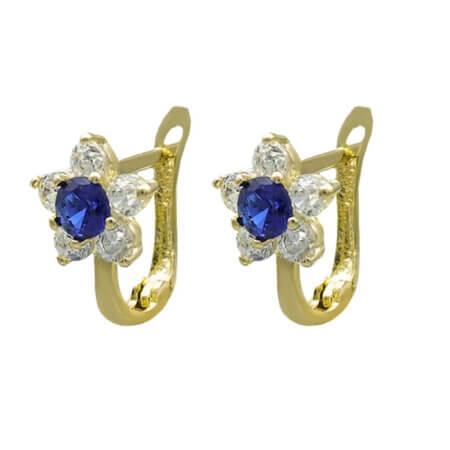 Σκουλαρίκια Ροζέτες 14Κ Λευκές Μπλε Ζιργκόν Πέτρες