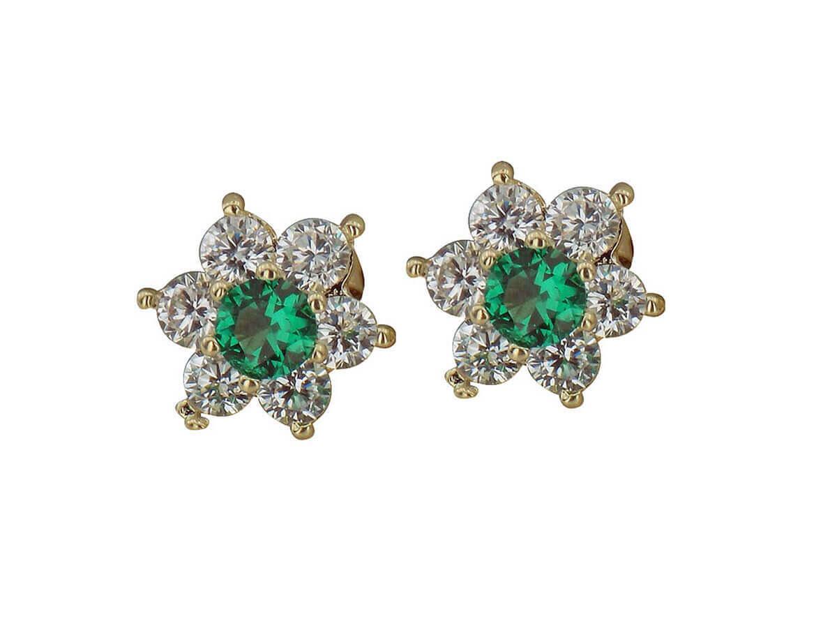Σκουλαρίκια Ροζέτες 14Κ Λευκές Πράσινες Ζιργκόν Πέτρες Καρφωτά Γυναικεία