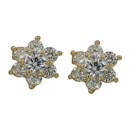 Σκουλαρίκια Ροζέτες 14Κ Λευκές Ζιργκόν Πέτρες Καρφωτά Γυναικεία