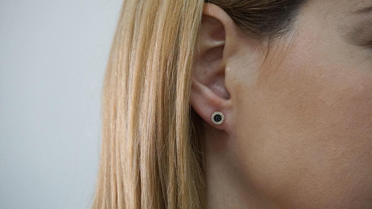 Καρφωτά Γυναικεία Σκουλαρίκια 9Κ Χρυσά Ροζέτες Ζιργκόν Πέτρες