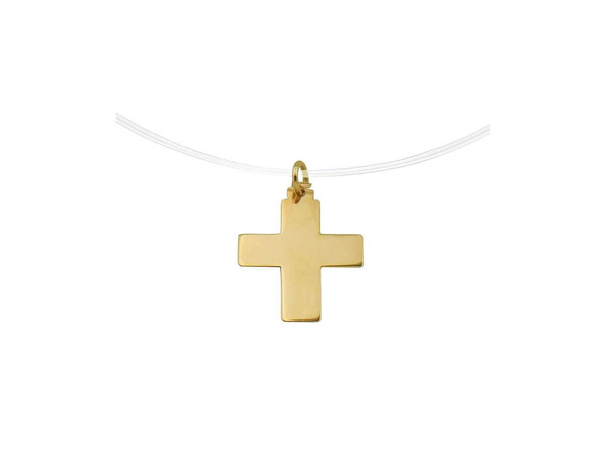 Σταυρός Γυναικείος Μοντέρνος 14Κ Κίτρινο Χρώμα Ντίζα
