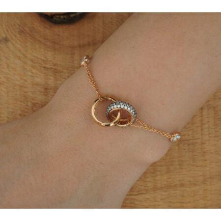 Βραχιόλι Χεριού 925 Ροζ Χρυσό Ζιργκόν Πέτρες Ασημένιο Γυναικείο