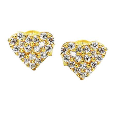 Χρυσά Γυναικεία Καρφωτά Σκουλαρίκια Καρδιές 9Κ Ζιργκόν Πέτρες