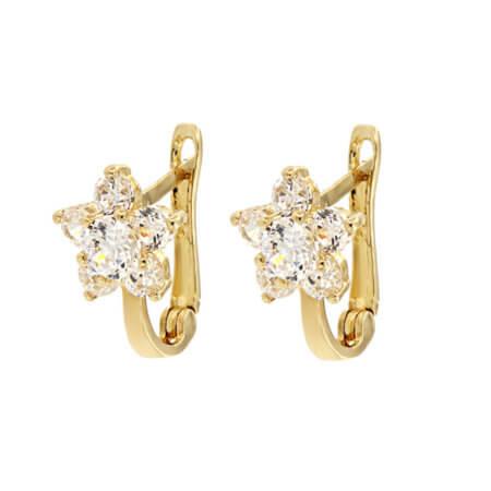 Χρυσά Γυναικεία Καρφωτά Σκουλαρίκια Ροζέτες Ζιργκόν 14Κ Πέτρες