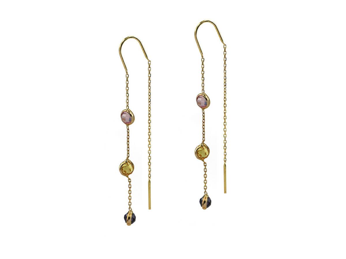 Χρυσά Γυναικεία Κρεμαστά Σκουλαρίκια Ζιργκόν Αλυσίδα 14Κ Πέτρες