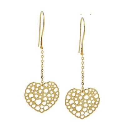 Γυναικεία Χρυσά Σκουλαρίκια Κρεμαστά Καρδιές 9Κ