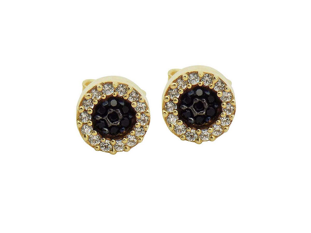 Χρυσά Σκουλαρίκια 9Κ Ροζέτες Ζιργκόν Πέτρες Καρφωτά Γυναικεία