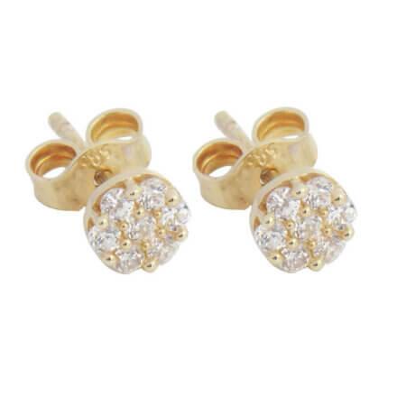 Χρυσά Σκουλαρίκια Ροζέτες 9 Καρατίων Λευκές Ζιργκόν Πέτρες Καρφωτά Γυναικεία