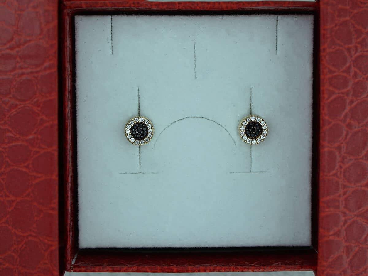 Χρυσά Σκουλαρίκια Ροζέτες Ζιργκόν