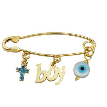 Χρυσή Παιδική Παραμάνα 9Κ Σταυρός Boy Ματάκι Γέννηση