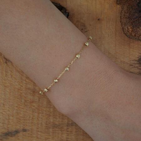 Χρυσό Βραχιόλι Γυναικείο 14Κ Αλυσίδα Χεριού Μπίλιες
