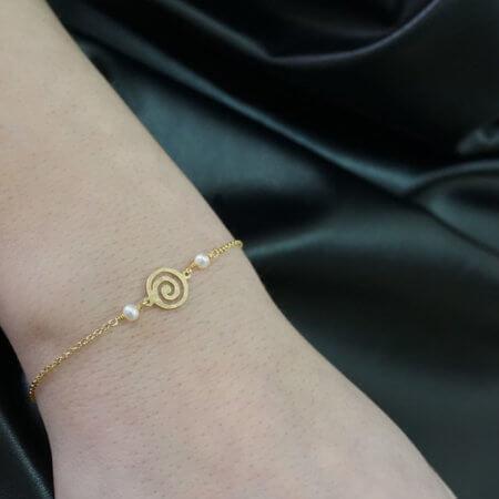 Χρυσό Γυναικείο Βραχιόλι Χεριού Γυναικείο 14Κ Μαργαριτάρι Αλυσίδα