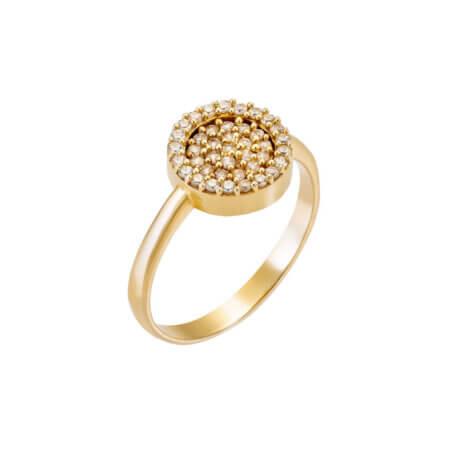 Χρυσό Δαχτυλίδι Ροζέτα 14Κ Λευκές Ζιργκόν Πέτρες Γυναικείο