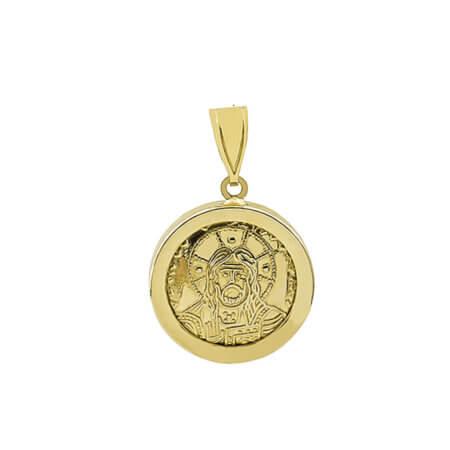 Χρυσό Κωνσταντινάτο Διπλής Όψης 9Κ Άγιος Κωνσταντίνος Ελένη Χριστός Γυναικείο Μενταγιόν Λαιμού
