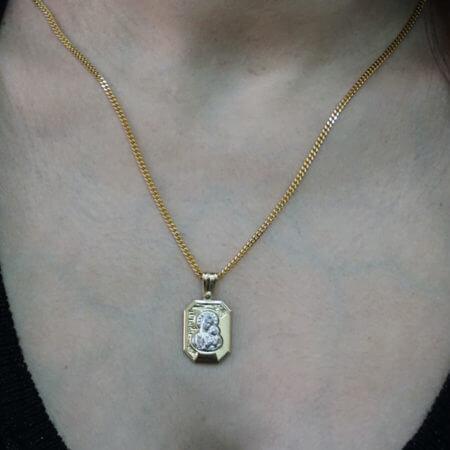 Χρυσό Φυλαχτό Λευκόχρυσο 14Κ Παναγίτσα Μενταγιόν Λαιμού Γυναικείο