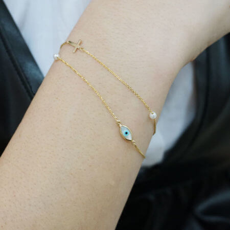 Χρυσό Γυναικείο Βραχιόλι 14Κ Σταυρό Αλυσίδα Χεριού Μαργαριτάρι Ματάκι