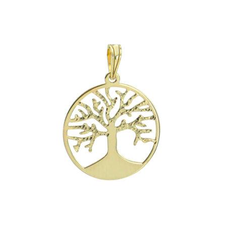 Χρυσό Γυναικείο Μενταγιόν 14Κ Δέντρο Ζωής Ζιργκόν