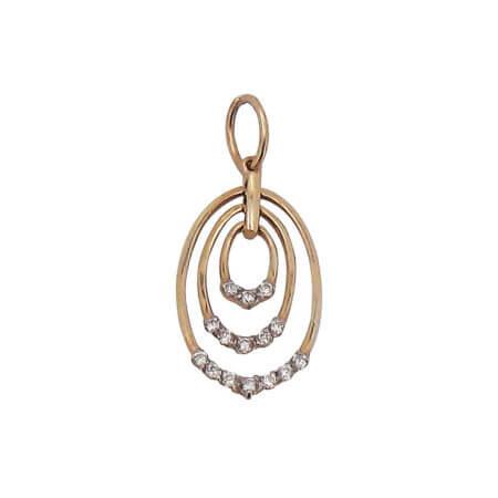 Χρυσό Γυναικείο Μενταγιόν Κύκλους Λαιμός Ζιργκόν 14Κ