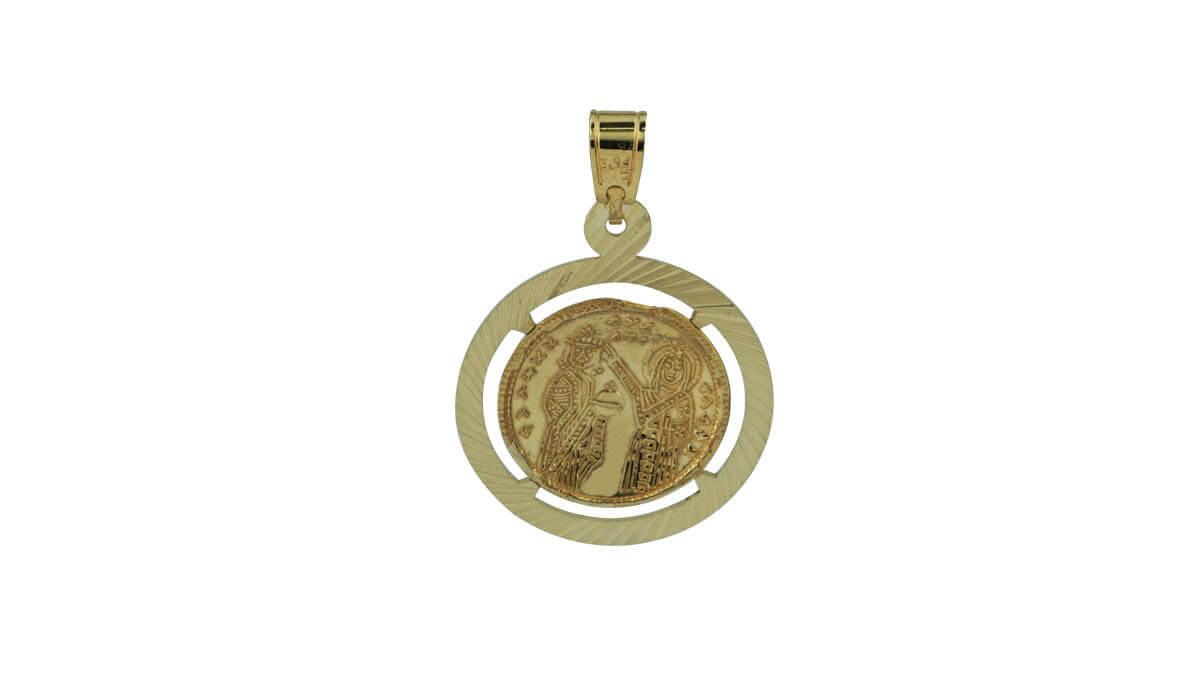 Χρυσό Γυναικείο Μενταγιόν Λαιμού 9Κ Διπλής Όψεως Χριστός Άγιοι Κωνσταντίνο Ελένη