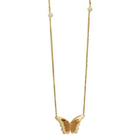 Χρυσό Κολιέ Πεταλούδα 14Κ Κρεμαστό Μαργαριτάρια
