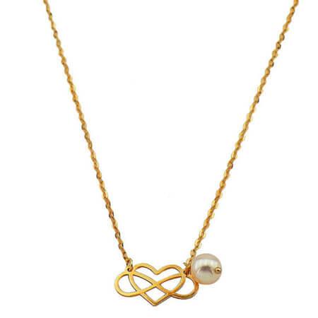 Χρυσό Κρεμαστό Κολιέ 9Κ Γυναικείο Κόσμημα Άπειρο Καρδιά