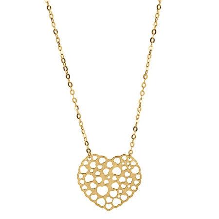 Χρυσό Κρεμαστό 9Κ Καρδιά Γυναικείο Κόσμημα Αλυσίδα