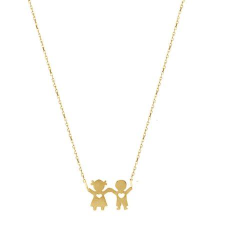 Χρυσό Κρεμαστό Αγοράκι Κοριτσάκι Γυναικείο Κολιέ 9Κ Μαμά