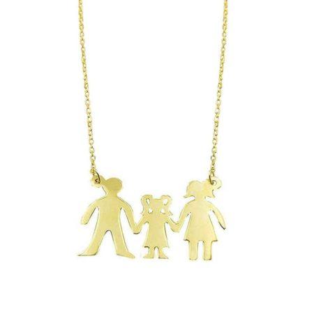 Γυναικείο Χρυσό Κρεμαστό Οικογένεια 14Κ Αλυσίδα Μαμά