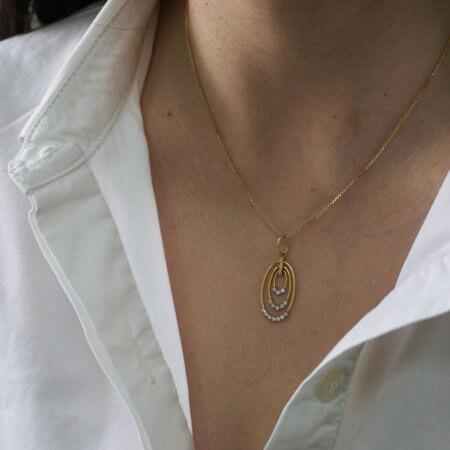 Μενταγιόν Γυναικείο 14Κ Χρυσό Κύκλος Λευκές Ζιργκόν Πέτρες