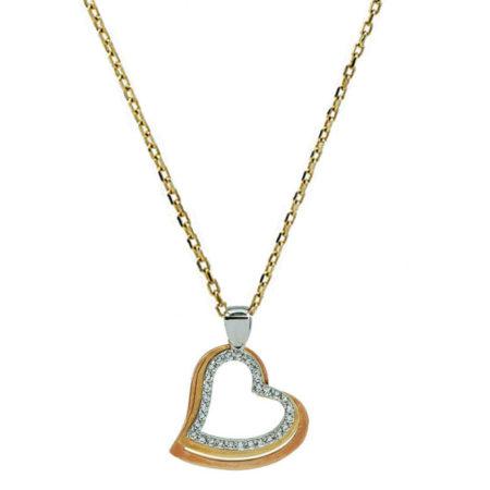 Χρυσό Λευκόχρυσο Γυναικείο Μενταγιόν Καρδιές