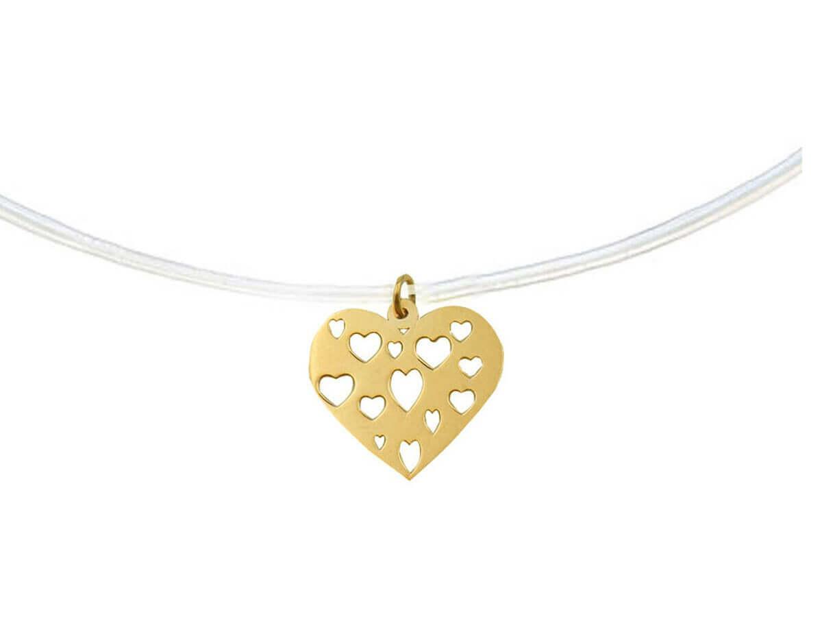 Χρυσό Μενταγιόν Καρδιά 14 Καρατίων Ντίζα Κόσμημα Κορίτσι Γυναίκα