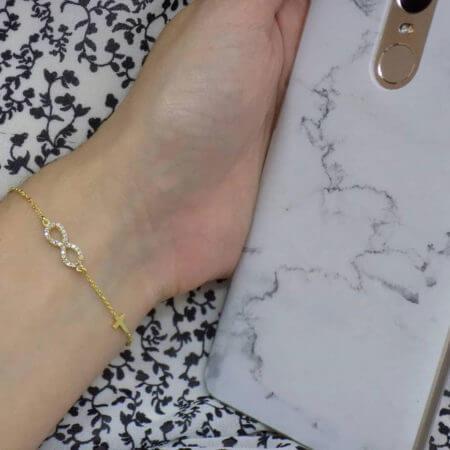 Χρυσό Βραχιόλι 9Κ Γυναικείο Αλυσίδα Χεριού Σταυρός Ζιργκόν Λευκές Πέτρες