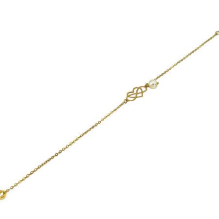 Χρυσό Βραχιόλι Αλυσίδα Χεριού Γυναικεία Μαργαριτάρι Καρδιά Άπειρο