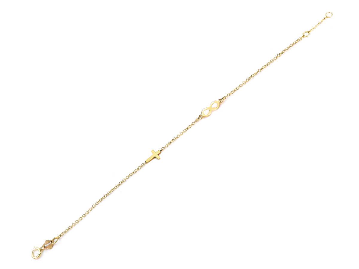 Χρυσό Βραχιόλι Με Σταυρουδάκι Άπειρο 9 Καράτια