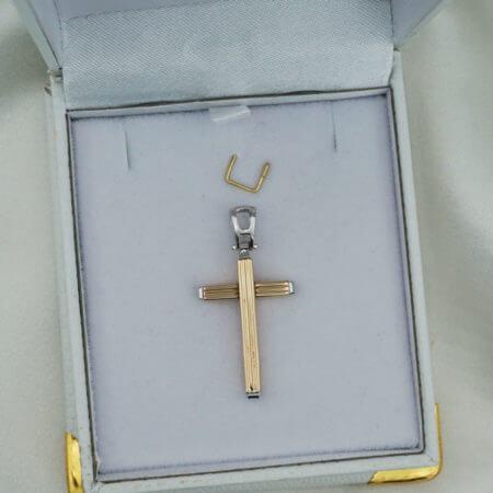 Λευκόχρυσος Σταυρός 14Κ Χρυσός Αρραβώνας Βάπτιση Αγόρι