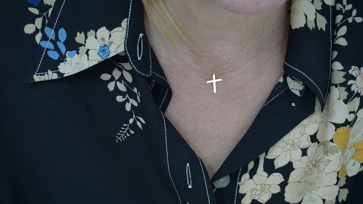 14Κ Χρυσός Γυναικείος Σταυρός Κόσμημα Κορίτσι Αλυσίδα